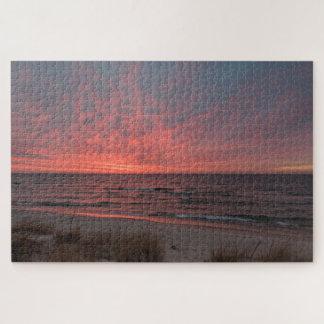 Pink Sunset in December on Lake Michigan ジグソーパズル