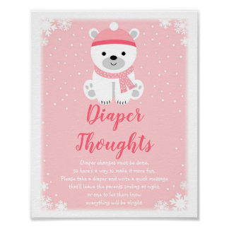 Pink Winter Bear Diaper Thoughts Game ポスター