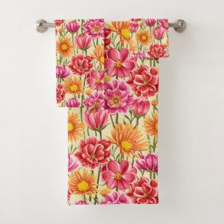 Pink & Yellow Flowers Bathroom Towel Set バスタオルセット