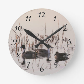 Pintailのアヒルのグループは湖の水泳集まり、 ラウンド壁時計