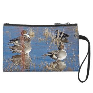 Pintailのアヒルの鳥の野性生物動物の池のバッグ スエードクラッチ