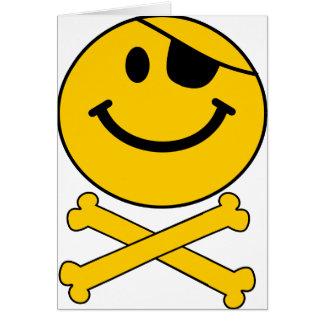 Pirateyのeyepatchのにこやかなスカル及び十字の骨 カード