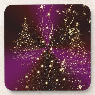 PixDezinesのきらめくなクリスマスツリー コースター