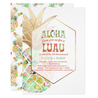 PixDezinesのアロハハワイのパイナップルまたはミントの緑 カード