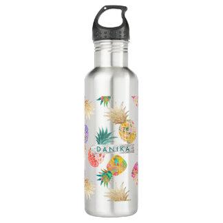 PixDezinesのアロハパイナップル+花の水彩画 ウォーターボトル
