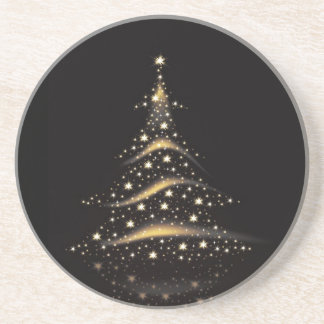 PixDezinesのクリスマスツリーか黒+金ゴールド コースター