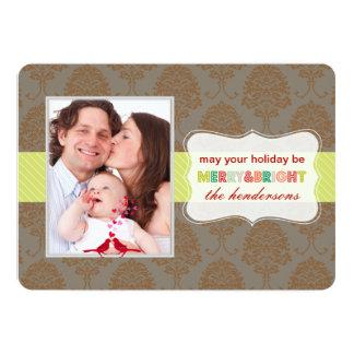 PixDezinesのシックなダマスク織の休日はカードを望みます カード