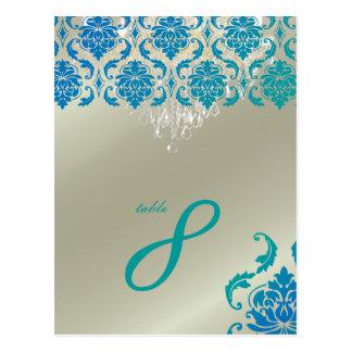 PixDezinesのシャンデリア+Vendomeの孔雀のダマスク織 ポストカード