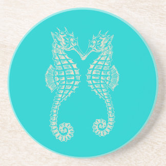 PixDezinesのタツノオトシゴか自然+青い コースター