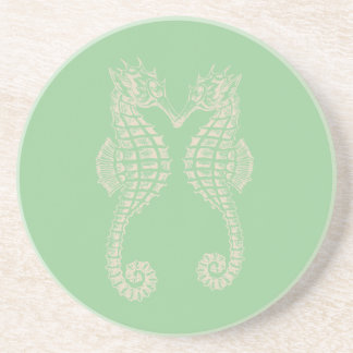 PixDezinesのタツノオトシゴか自然+seafoamの緑 コースター