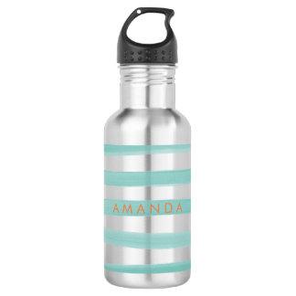 PixDezinesのティール(緑がかった色)の緑のストライプか調節可能 ウォーターボトル