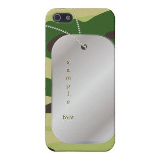 PixDezinesのハンター緑の迷彩柄+犬+ラベル iPhone 5 ケース