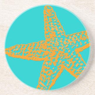 PixDezinesのヒトデかオレンジ+青い コースター