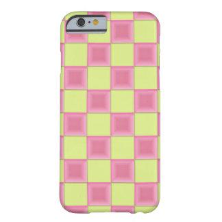 PixDezinesのピンクキャンデー+緑のチェッカー Barely There iPhone 6 ケース
