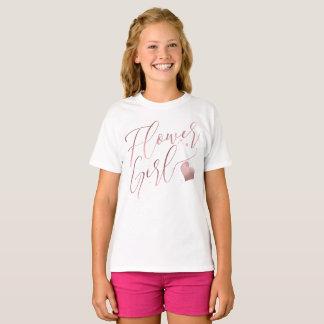 PixDezinesのフラワー・ガールかのどのばら色の金ゴールドModernScript Tシャツ