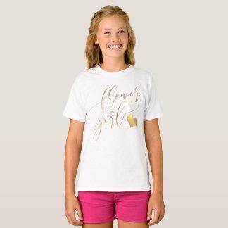 PixDezinesのフラワー・ガールかのどの金ゴールドのモダンCalligraph Tシャツ