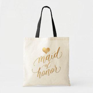 PixDezinesのメイド・オブ・オーナー(花嫁付き添い人)かのどの金ゴールドの原稿 トートバッグ