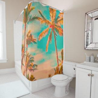 PixDezinesのヴィンテージのハワイのビーチかティール(緑がかった色) シャワーカーテン