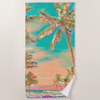 PixDezinesのヴィンテージのハワイのビーチかティール(緑がかった色) ビーチタオル