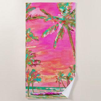 PixDezinesのヴィンテージのハワイのビーチかピンクまたはティール(緑がかった色) ビーチタオル