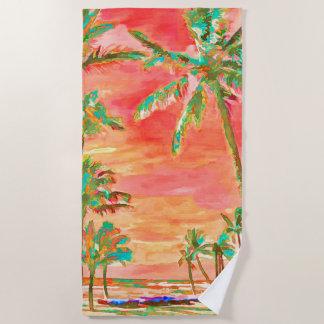 PixDezinesのヴィンテージのハワイのビーチか珊瑚のオレンジ ビーチタオル