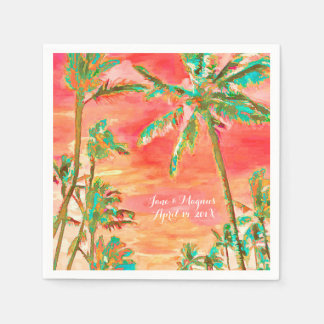 PixDezinesのヴィンテージのハワイのビーチか珊瑚またはティール(緑がかった色) スタンダードカクテルナプキン