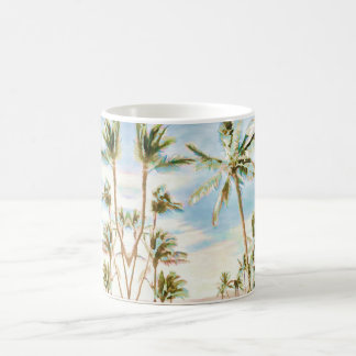 PixDezinesのヴィンテージのハワイのビーチか青空 コーヒーマグカップ