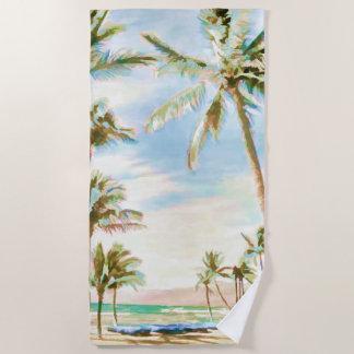 PixDezinesのヴィンテージのハワイのビーチか青空 ビーチタオル