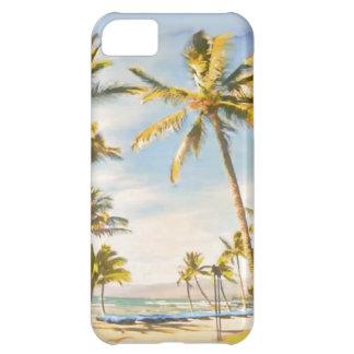 PixDezinesのヴィンテージのハワイのビーチの場面かティール(緑がかった色) iPhone5Cケース