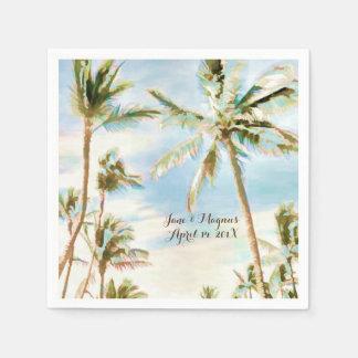 PixDezinesのヴィンテージのハワイのビーチまたは淡いブルー スタンダードカクテルナプキン