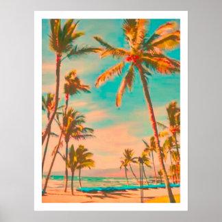 PixDezinesのヴィンテージのハワイのビーチ ポスター