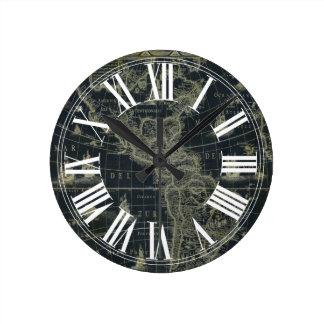 PixDezinesのヴィンテージの航海のな地図 ラウンド壁時計