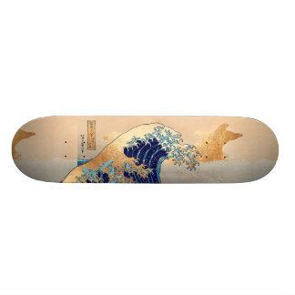 PixDezinesのヴィンテージ、素晴らしい波、Hokusaiの葛飾北斎の神奈川沖浪 オリジナルスケートボード