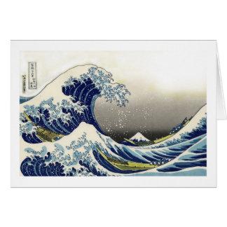 PixDezinesのヴィンテージ、素晴らしい波、Hokusaiの葛飾北斎の神奈川沖浪 カード