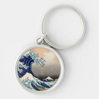 PixDezinesのヴィンテージ、素晴らしい波、Hokusaiの葛飾北斎の神奈川沖浪 シルバーカラー丸型キーホルダー