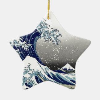 PixDezinesのヴィンテージ、素晴らしい波、Hokusaiの葛飾北斎の神奈川沖浪 セラミックオーナメント