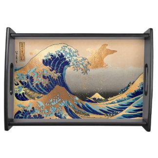 PixDezinesのヴィンテージ、素晴らしい波、Hokusaiの葛飾北斎の神奈川沖浪 トレー