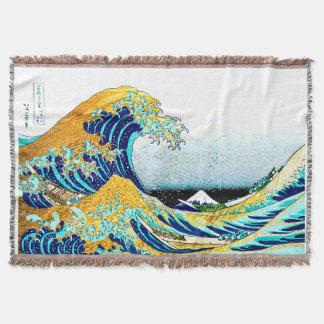 PixDezinesのヴィンテージ、素晴らしい波、Hokusaiの葛飾北斎の神奈川沖浪 ブランケット