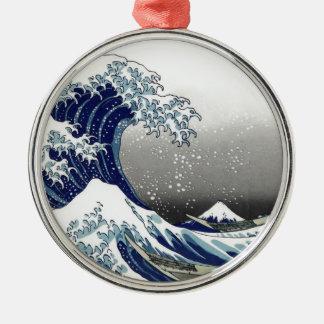 PixDezinesのヴィンテージ、素晴らしい波、Hokusaiの葛飾北斎の神奈川沖浪 メタルオーナメント