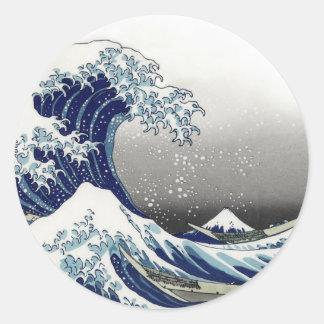 PixDezinesのヴィンテージ、素晴らしい波、Hokusaiの葛飾北斎の神奈川沖浪 丸形シール・ステッカー