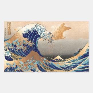 PixDezinesのヴィンテージ、素晴らしい波、Hokusaiの葛飾北斎の神奈川沖浪 長方形シール