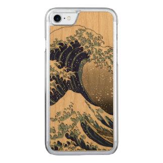 PixDezinesのヴィンテージ、素晴らしい波、Hokusaiの葛飾北斎の神奈川沖浪 Carved iPhone 8/7 ケース
