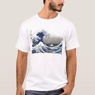 PixDezinesのヴィンテージ、素晴らしい波、Hokusaiの葛飾北斎の神奈川沖浪 Tシャツ