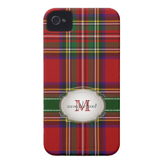 PixDezinesの一族のステュワートのタータンチェックか赤+緑 Case-Mate iPhone 4 ケース