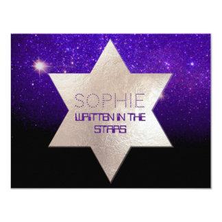 PixDezinesの夜空か紫色または(ユダヤ教の)バル・ミツバーのお祝い カード
