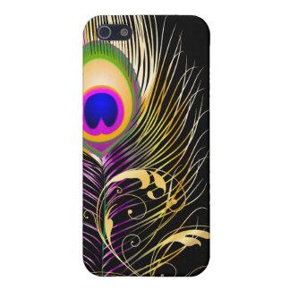 PixDezinesの孔雀の羽毛+filigree/DIYの背景 iPhone 5 Cover