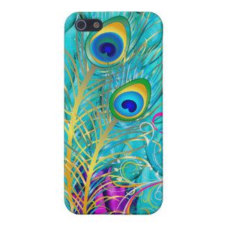 PixDezinesの孔雀の羽+虹の渦巻 iPhone 5 Case