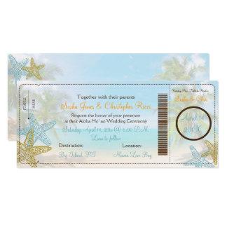 PixDezinesの搭乗券+ビーチ結婚式の招待状 10.2 X 23.5 インビテーションカード