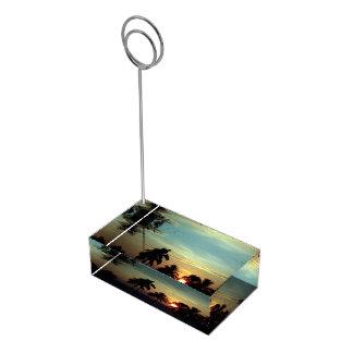 PixDezinesの日没の@maunaのkeaのビーチ テーブルカードホルダー