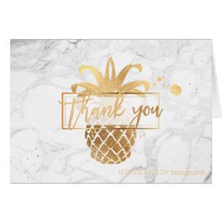 PixDezinesの模造のな金ゴールドのパイナップルはまたは感謝していしています ノートカード
